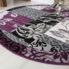 Round Circle Patchwork Purple Rug - Milan