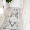 Blue Traditional Distressed Flat Low Pile Room Rug - Abella