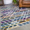 Colourful Geometric Strokes Pattern Runner Rug - Oscar