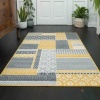 Yellow Grey Patchwork Hallway Runner Rug - Milan