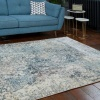Soft Modern Blue Distressed Abstract Hall Runner Rugs - Riviera