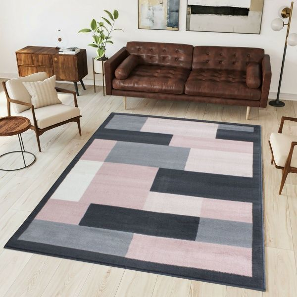 Pink Grey Modern Contemporary Living Room Rug - Milan
