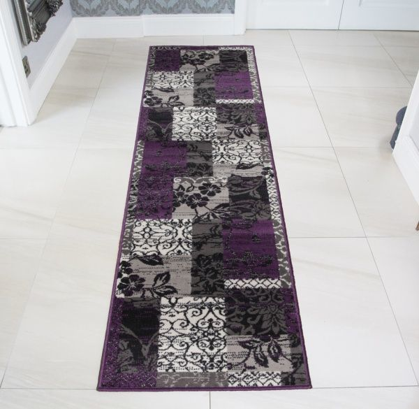 Patchwork Purple Runner Rug - Milan