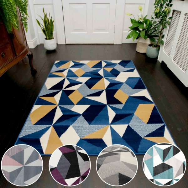 Modern Geometric Living Room Rugs - Choose Your Colour