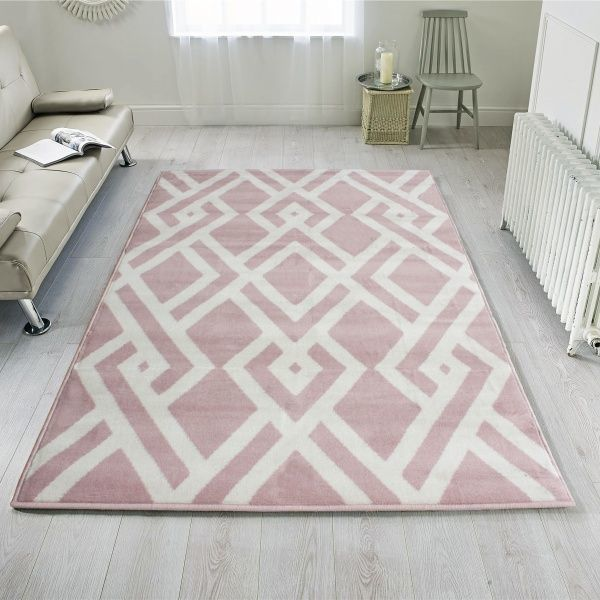 Pink Cream Woven Geometric Living Room Rug - Milan