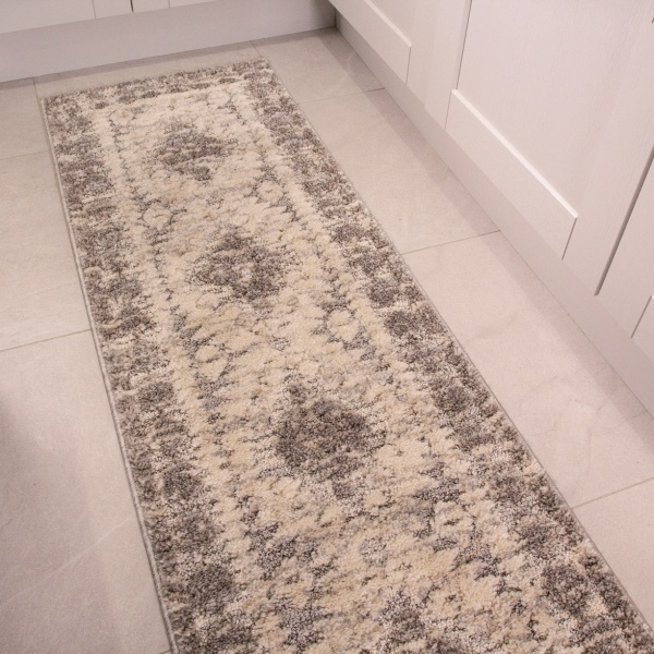 Grey White Textured Tribal Runner Rug - Ashbee