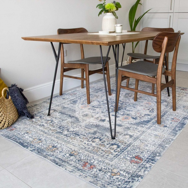 Blue Oriental Distressed Flat Low Pile Area Rug - Abella