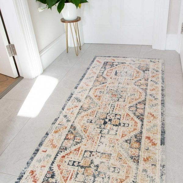 Terracotta Blue Vintage Distressed Flat Low Pile Hall Runner Rug - Abella