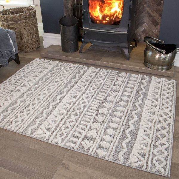 Grey Cream Aztec Rug - Ashbee