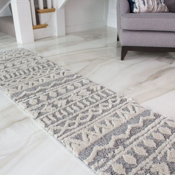 Grey Cream Aztec Runner Rug - Ashbee