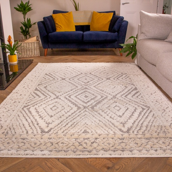 Grey Scandi Trellis Rug - Ashbee