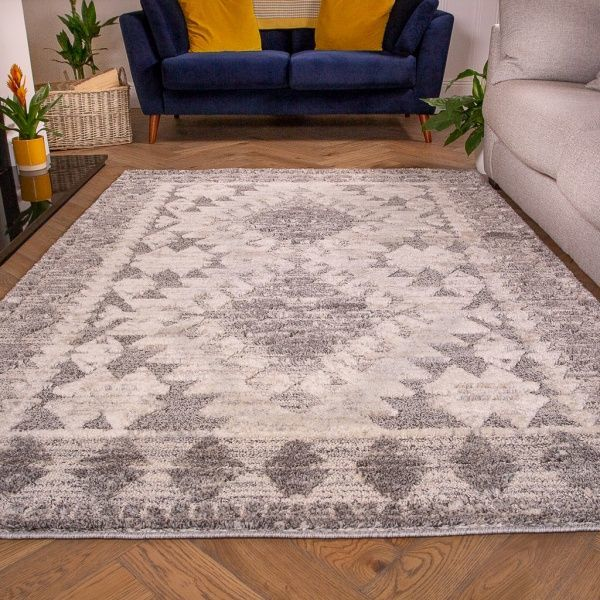 Grey White Textured Tribal Scandi Rug - Ashbee