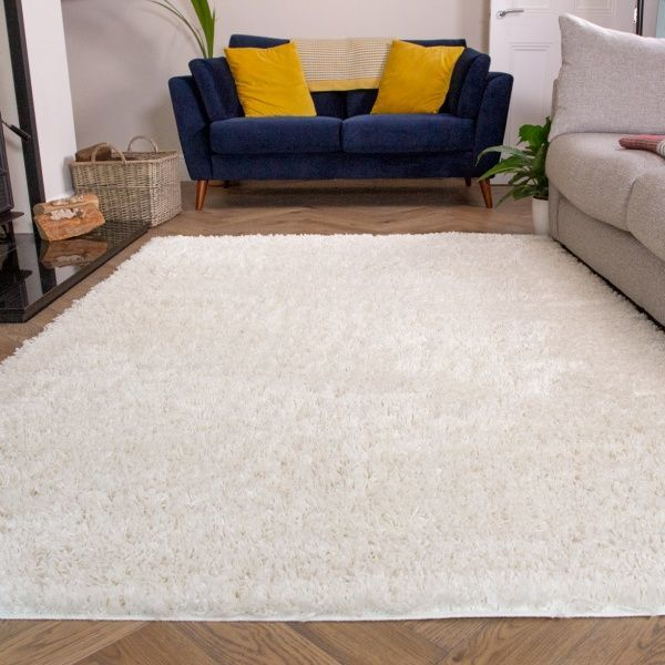 Super Soft Luxury Cream White Shaggy Rug - Aspen