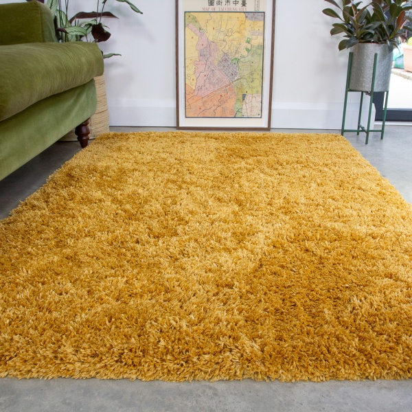 Super Soft Luxury Yellow Shaggy Rug - Aspen
