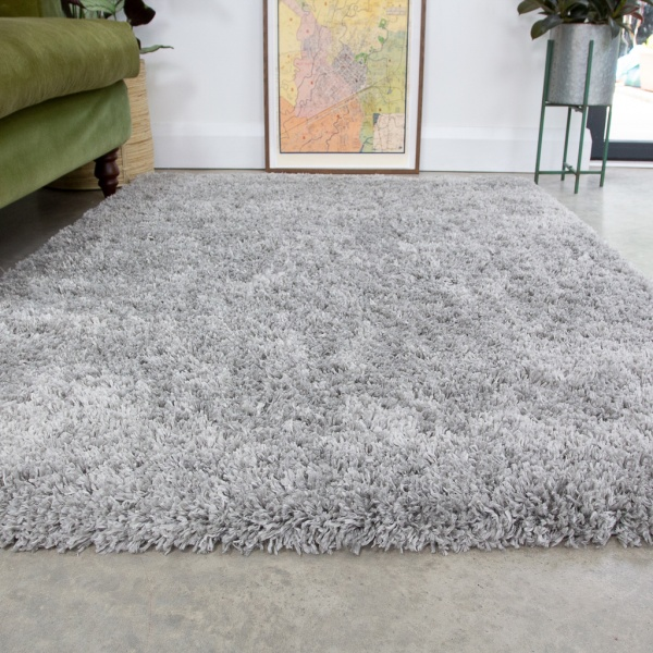 Super Soft Luxury Silver Shaggy Rug - Aspen