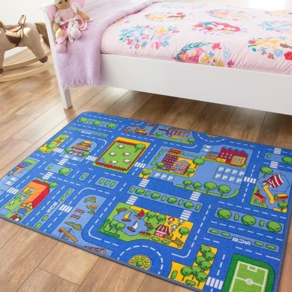 Blue Play Town Village Kids Rug