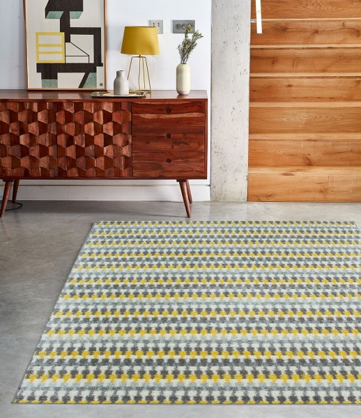 Ochre Grey Striped Rug - Bombay