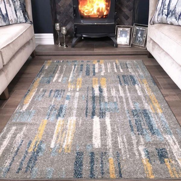 Soft Grey Blue Gold Dashes Rug Ay, Gray And Yellow Rugs For Living Room