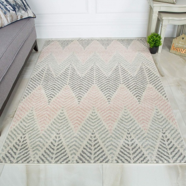 Blush Grey Herringbone Rug - Bombay
