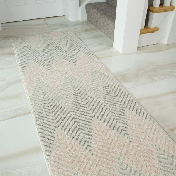 Blush Grey Herringbone Runner Rug - Bombay