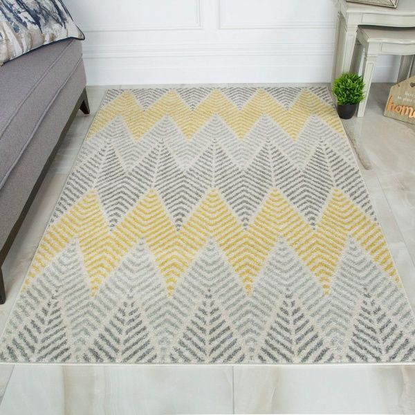 Yellow Grey Herringbone Rug - Bombay