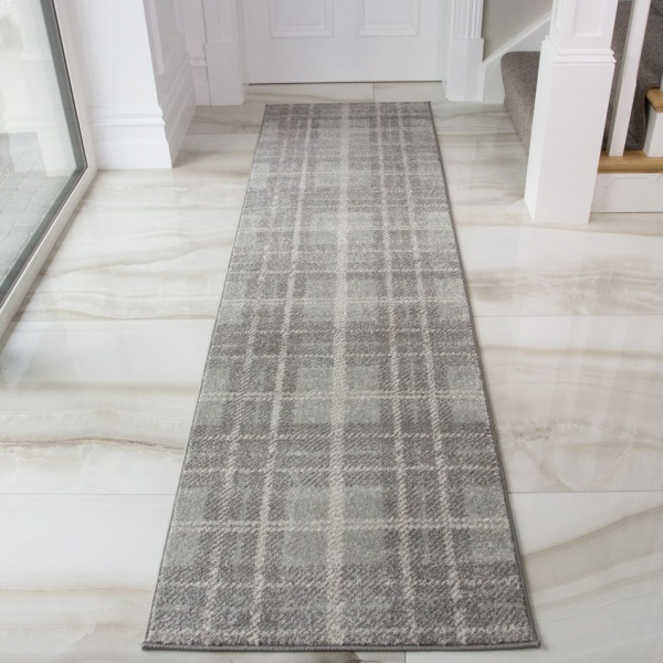Grey Check Tartan Runner Rug - Bombay