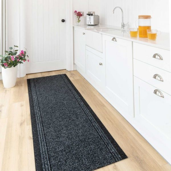 Dark Grey Hard Wearing Runner Rugs - Concorde