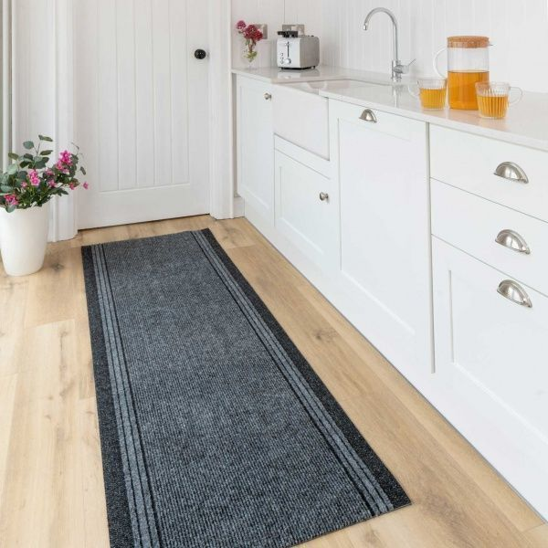 Grey Hard Wearing Runner Rugs - Concorde 80cm