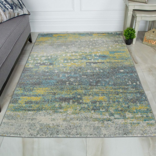 Yellow Blue Grey Rug - Bombay