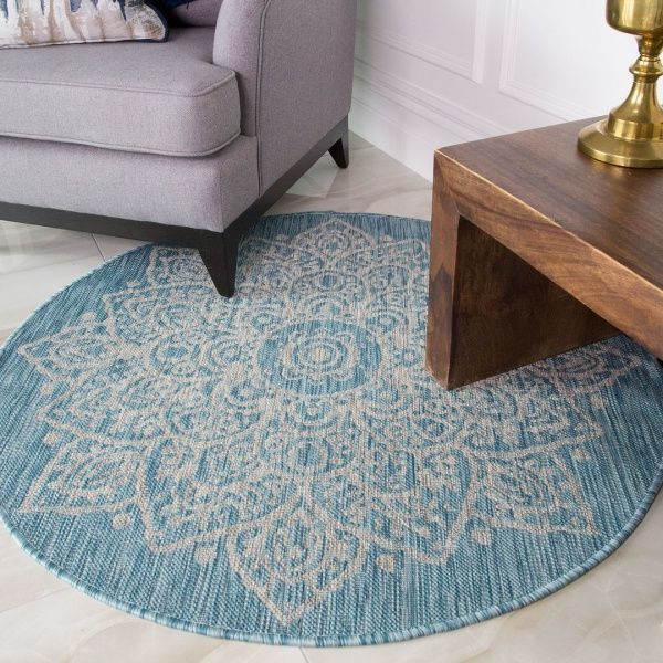 Aqua Circle Outdoor Rug - Habitat