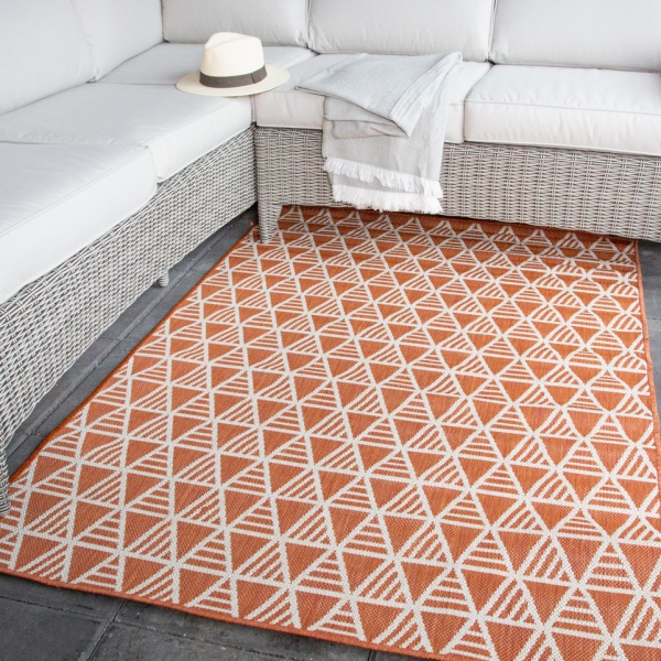 Dark Terra Geometric Outdoor Rug - Habitat