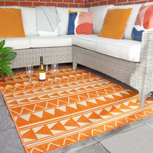 Bright Orange Tribal Print Indoor Outdoor Rugs  - Habitat