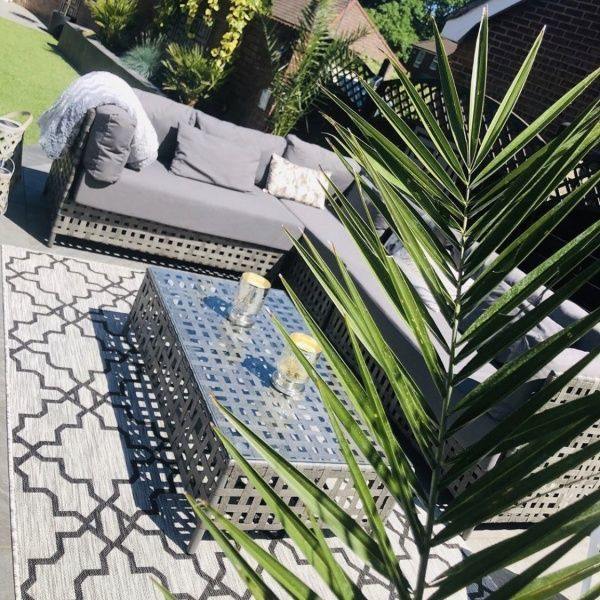 Grey Flatweave Outdoor Rug - Habitat