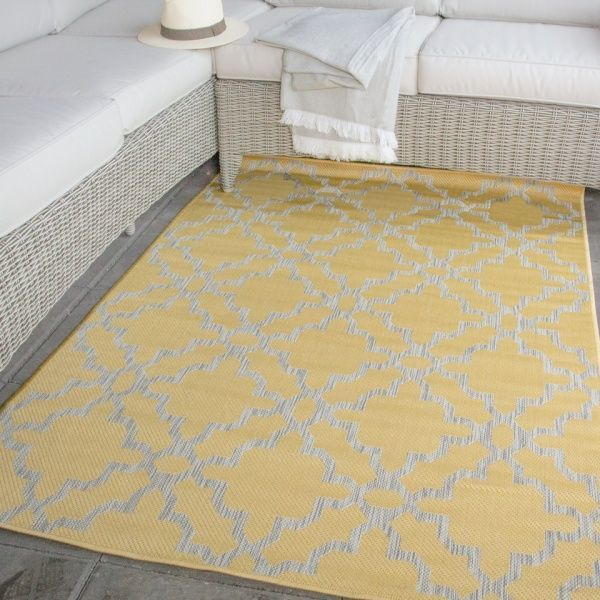 Light Gold Flatweave Outdoor Rug - Habitat