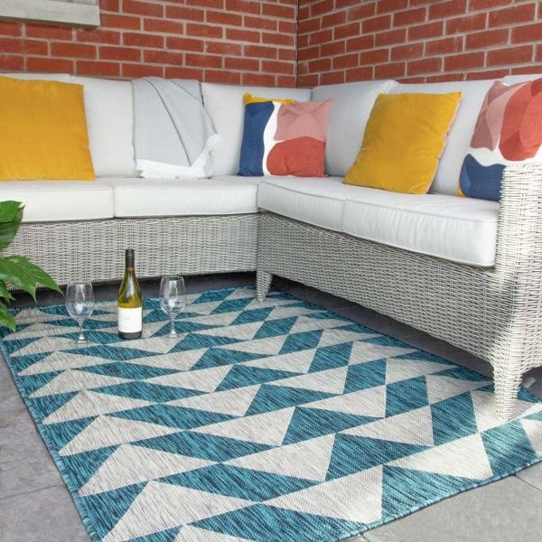Blue Grey Geometric Indoor Outdoor Rugs  - Habitat