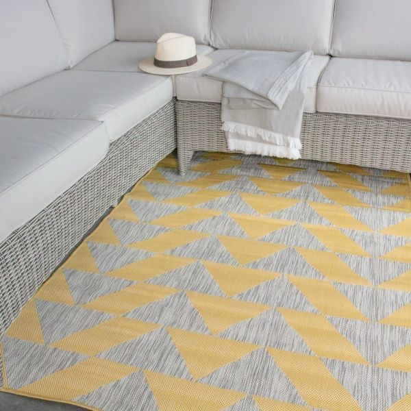 Light Yellow Grey Outdoor Rug - Habitat