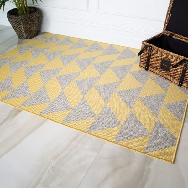 Yellow Grey Outdoor Rug - Habitat