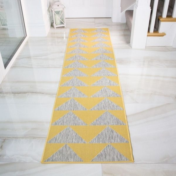 Yellow Grey Outdoor Runner Rug - Habitat
