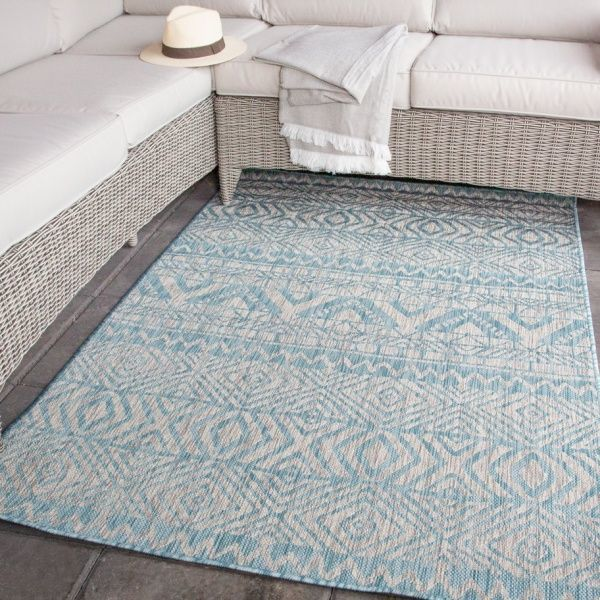 Light Blue Flatweave Outdoor Rug - Habitat