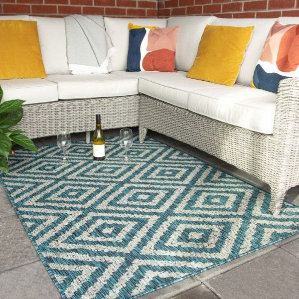 Blue Geometric Indoor Outdoor Waterproof Rugs  - Habitat