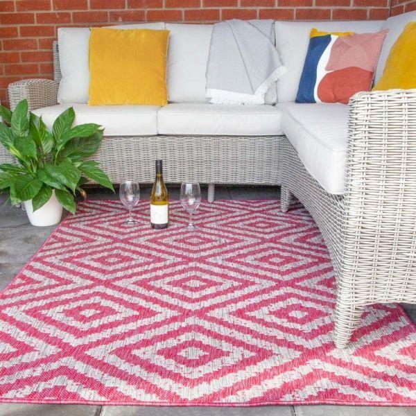 Vibrant Pink Geometric Indoor Outdoor, Pink Outdoor Rug Uk