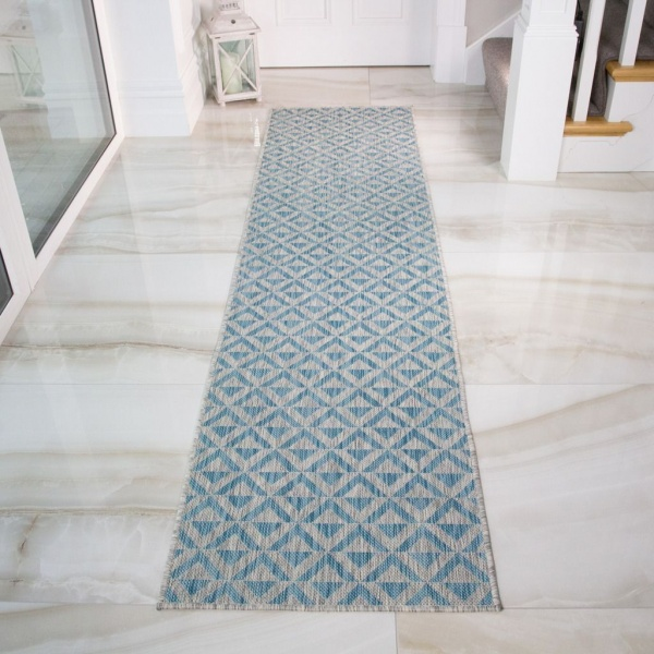Blue Grey Geometric Runner Rug - Habitat