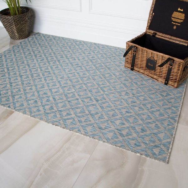 Blue Grey Geometric Rug - Habitat
