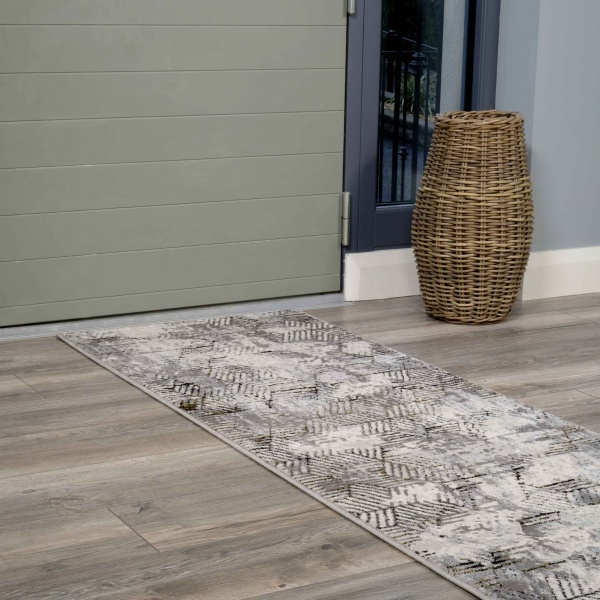 Modern Gold Abstract Geometric Hall Runner Rugs - Hatton