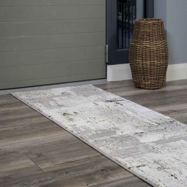 Modern Gold Abstract Distressed Hall Runner Rugs - Hatton