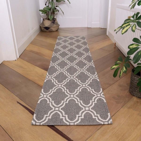 Grey Trellis Woven Recycled Cotton Runner Rug - Kendall