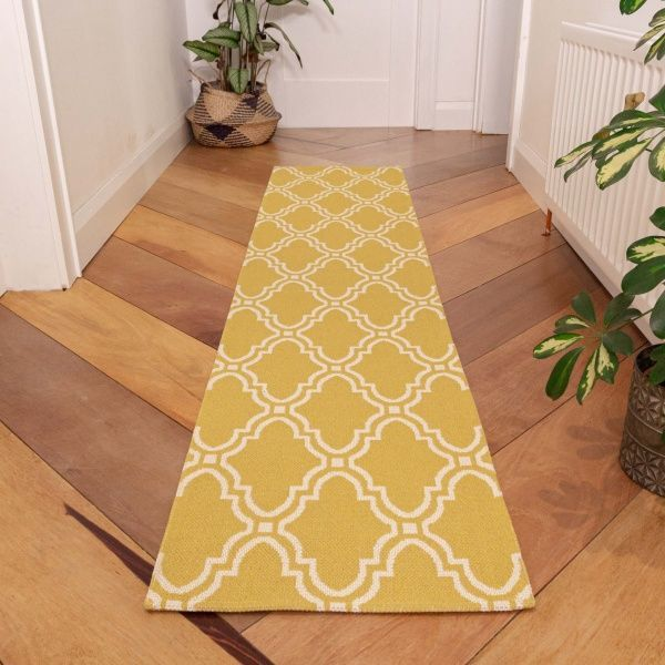 Mustard Trellis Woven Recycled Cotton Runner Rug - Kendall