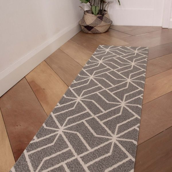 Grey Geometric Woven Recycled Cotton Runner Rug  - Kendall