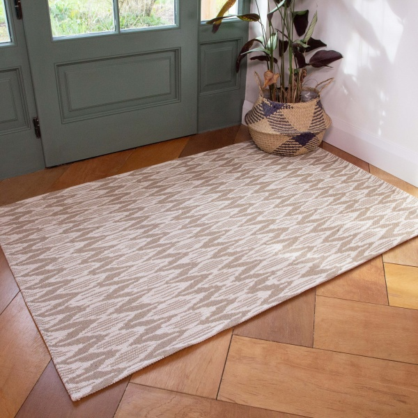 Natural Stripe Woven Recycled Cotton Rug - Kendall