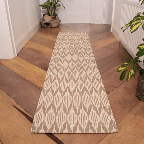 Natural Stripe Woven Runner Recycled Cotton Rug - Kendall